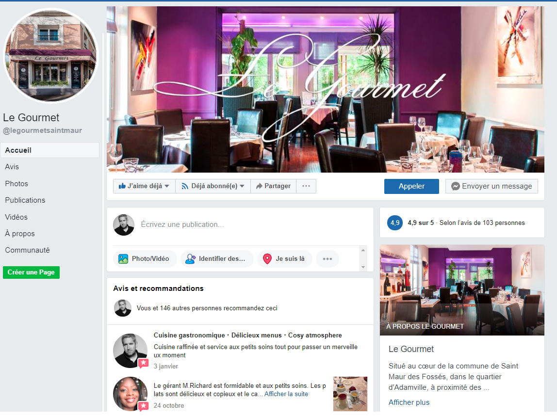 gestion page facebook restaurant Normandie